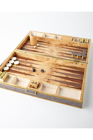 AERIN Chocolate Shagreen Backgammon Set