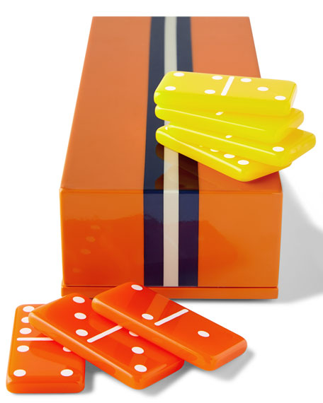 Jonathan Adler Orange Lacquer Domino Set