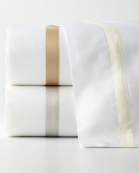 Matouk Queen Lowell Solid White 600TC Fitted Sheet