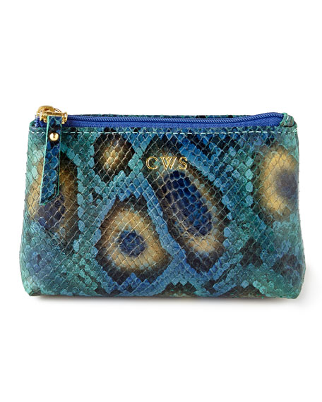 Graphic Image Blue Python-Print Jewelry Pouch