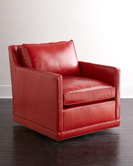 Nina St. Clair Crimson Leather Swivel Chair