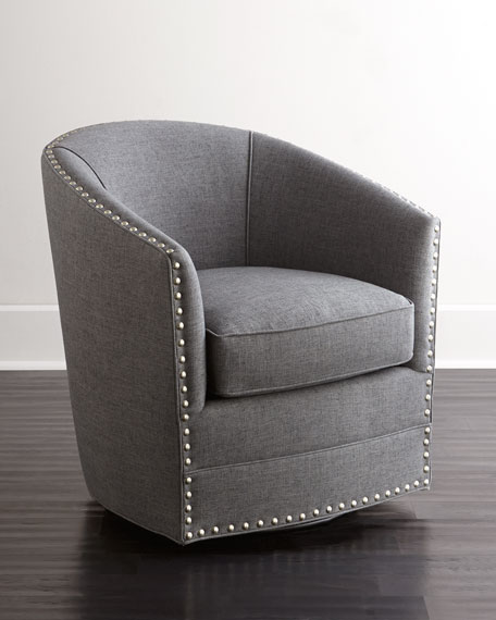 Neimanmarcus Bryn St. Clair Charcoal Tweed Swivel Chair