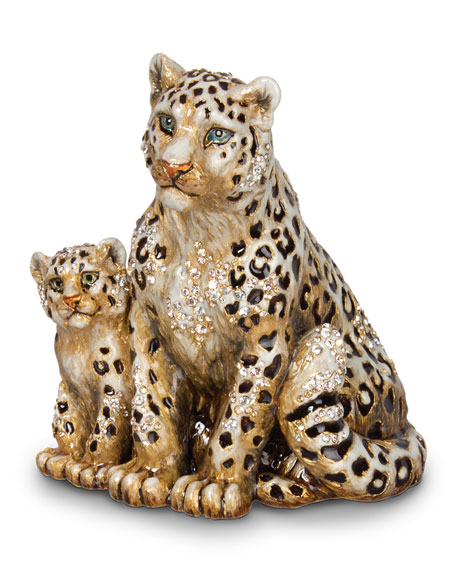 Jay Strongwater Mother & Baby Snow Leopards Figurine