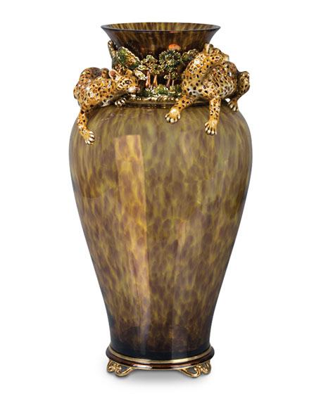 Jay Strongwater Leopard Vase