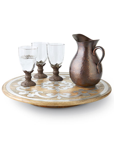 G G Collection Wood Lazy Susan with Metal Inlay