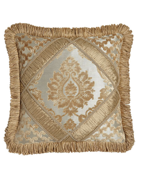 "Austin Horn Collection Allure Diamond-Center Pieced Pillow with Fringe, 18""Sq."