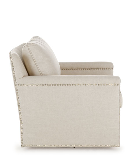 Avis St. Clair Linen-Texture Swivel Chair