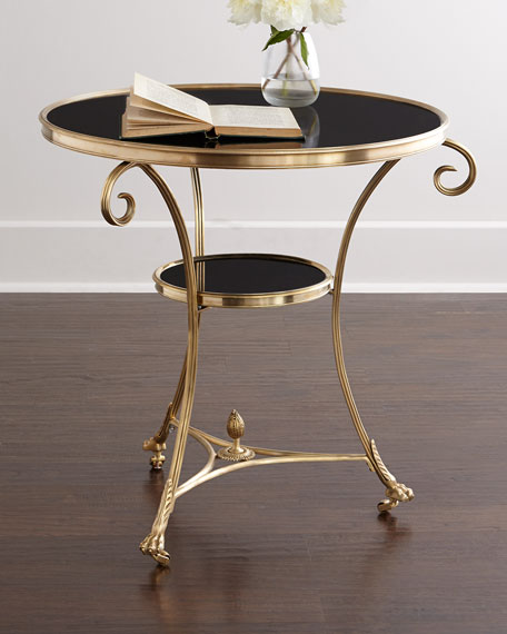 Global Views Black Granite Side Table