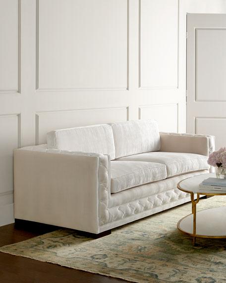 Bently White Tufted Sofa