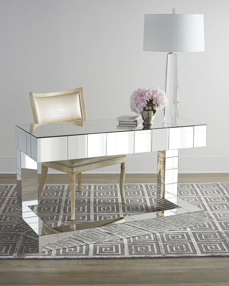 mirrored writing desk Buy this gorgeous looking white mirrored writing desk to help you create a charming workspace for your home-office its antique-style white finish and tran.