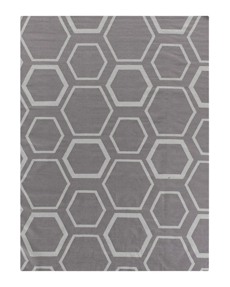Exquisite Rugs Dark Gray Honeycomb Rug, 8' x 11'