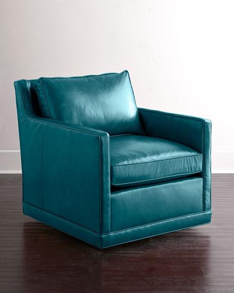 Nina St. Clair Peacock Blue Leather Swivel Chair