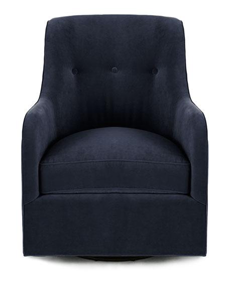 Cali St. Clair Navy Velvet Swivel Chair