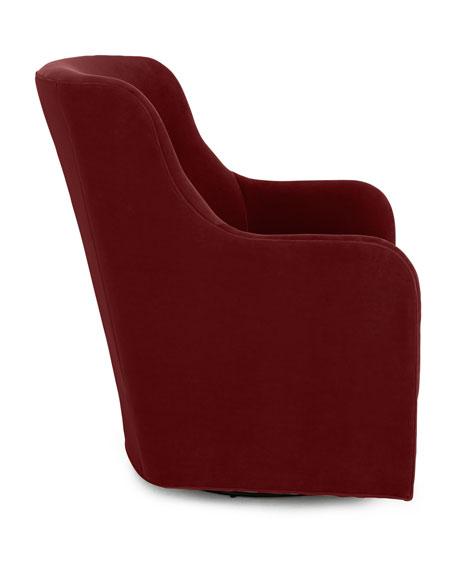 Cali St. Clair Red Velvet Swivel Chair