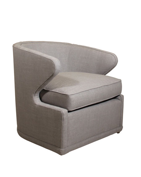 Dyna St. Clair Light Gray Tweed Swivel Chair
