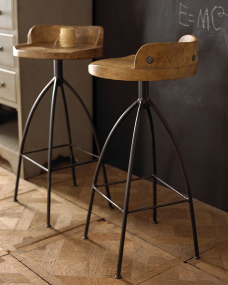 Image 4 of 5: Arteriors Wood Swivel Counter Stool