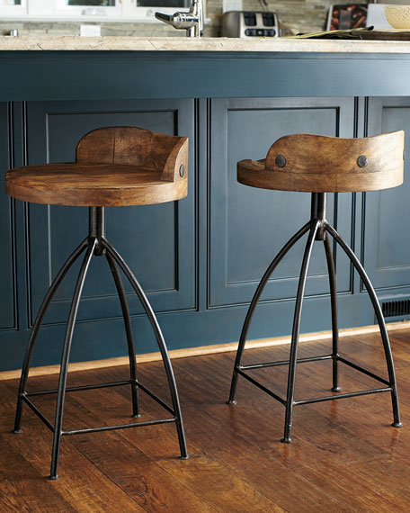 Image 5 of 5: Arteriors Wood Swivel Counter Stool