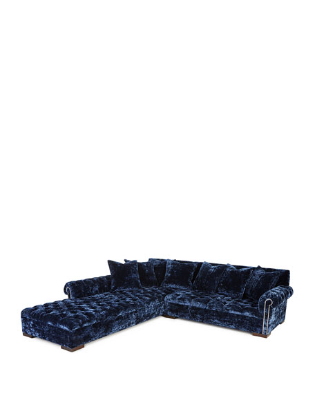 """Divine Crushed Velvet Left Chaise Sectional 119"""""""
