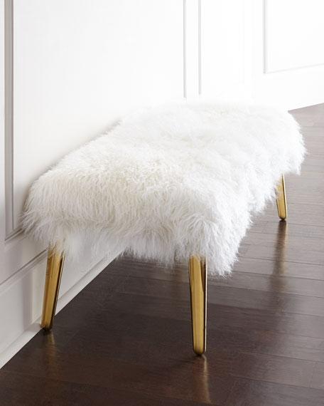 Jonathan Adler Long-Haired Sheepskin Bench