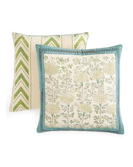 "Rajasthan Floral Pillow, 20""Sq."