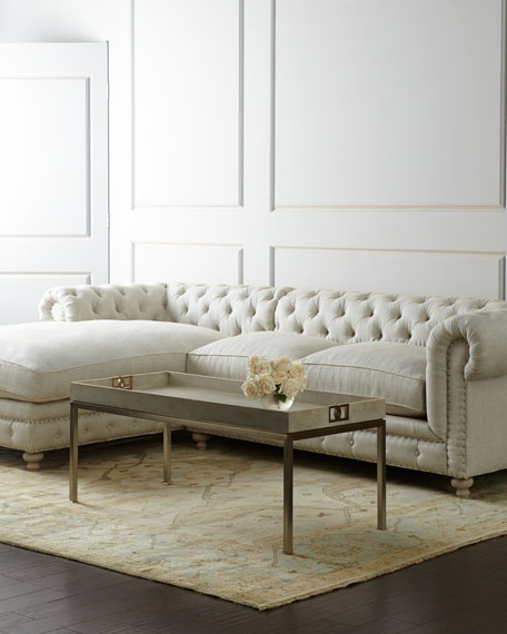 Warner Linen Left-Chaise Sectional Sofa
