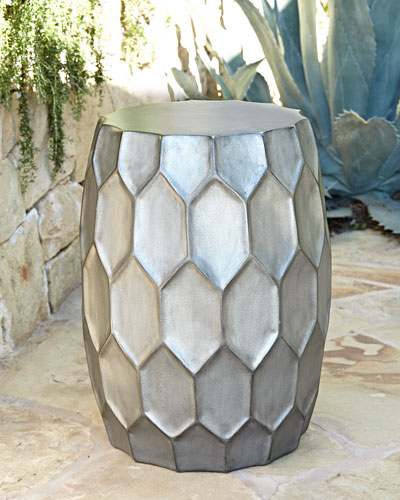 Honeycomb Silver Garden Stool