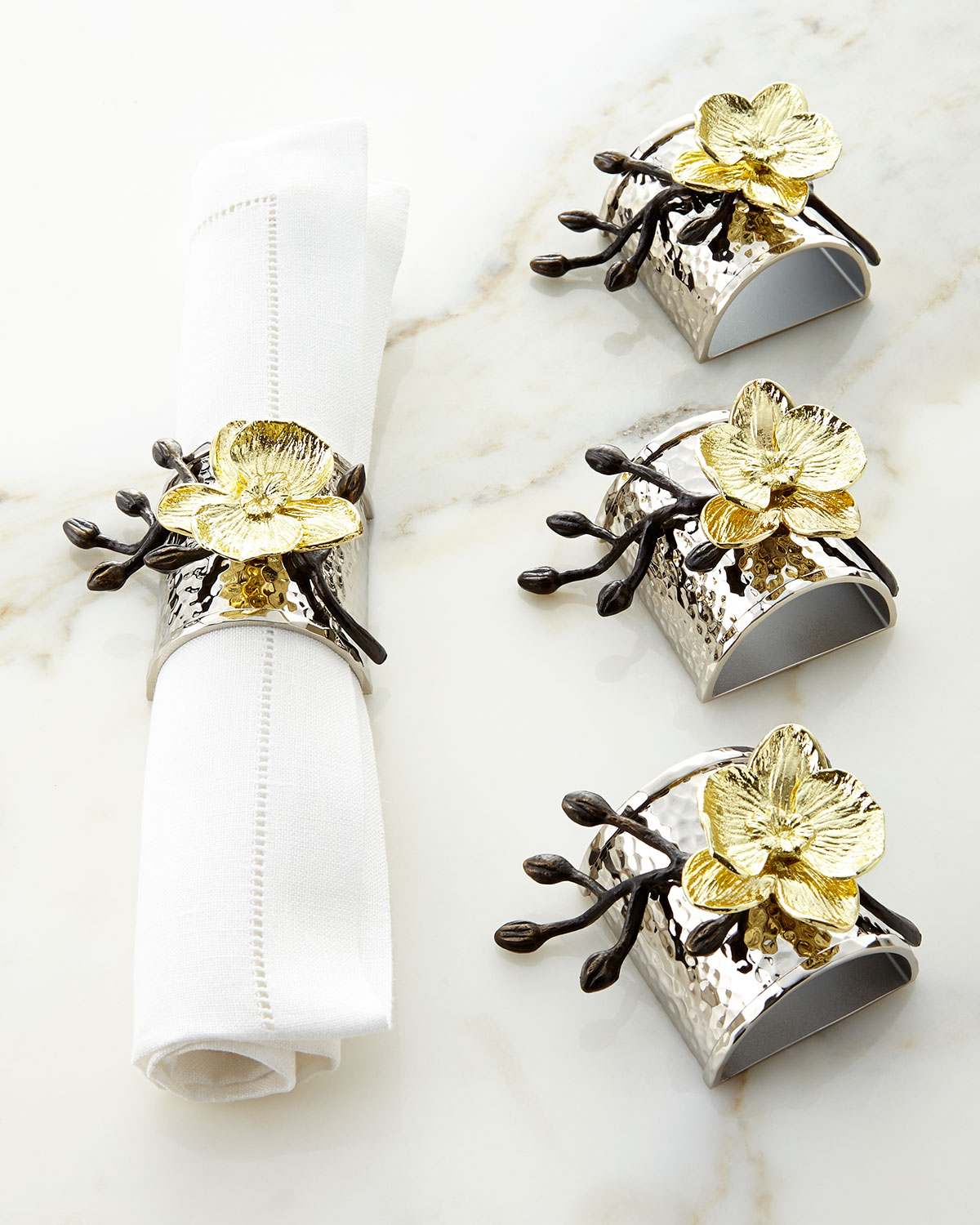 Orchid Trellis New Diamontrigue Jewelry: Michael Aram Four Gold Orchid Napkin Rings