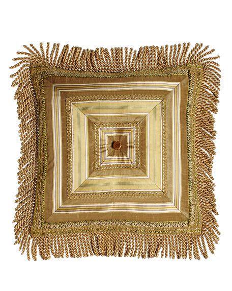 "Mitered-Stripe Pillow with Gimp Accents & Bullion Fringe, 18""Sq."