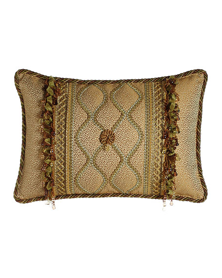 Sweet Dreams Oblong Rosette Pillow with Gimp Accents