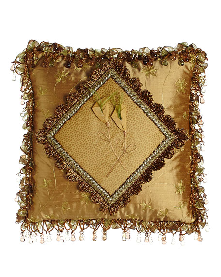 "Diamond-Center Pillow with Dimensional Flowers & Ribbon & Bead Fringe, 14""Sq."