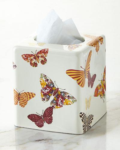 White Butterfly Garden Tissue Box Cover