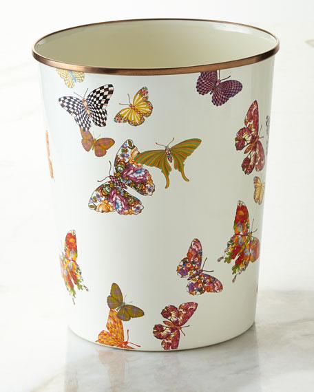 MacKenzie-ChildsWhite Butterfly Garden Wastebasket