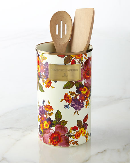 MacKenzie-Childs Flower Market White Utensil Holder