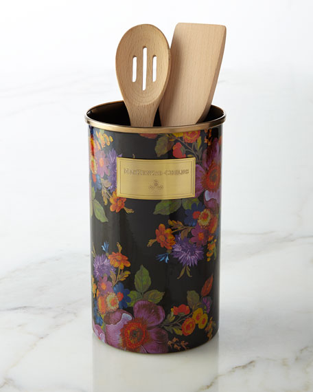 MacKenzie-ChildsFlower Market Black Utensil Holder
