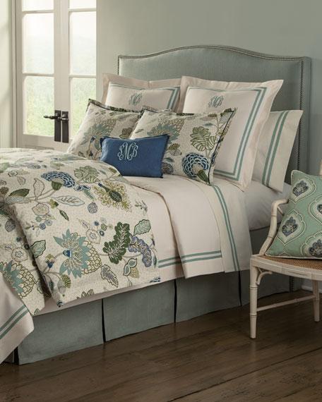 "12"" x 16"" Gemma Marine-Blue Pillow, Monogrammed"