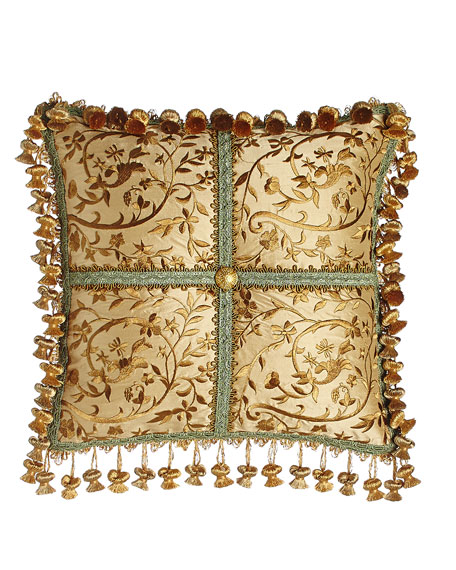 "Palazzo Como Embroidered Silk Pillow, 14""Sq."