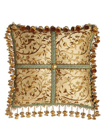 """Palazzo Como Embroidered Silk Pillow, 14""""Sq."""
