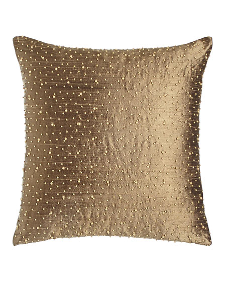 "Austin Horn Collection Beaded Silk Pillow, 17.5""Sq."