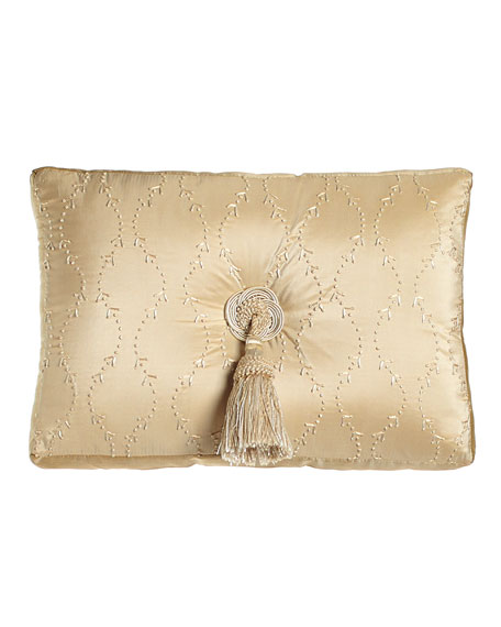 """13"""" x 18"""" Embroidered Silk Pillow with Center Tassel"""