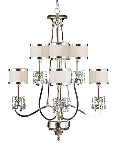 John-Richard Collection Silver-Finish 2-Tier 8-Light Chandelier