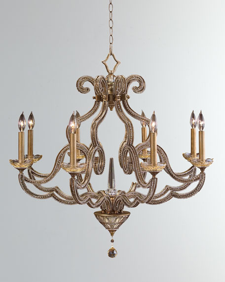 Beaded Elegance 8-Light Scroll Chandelier
