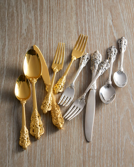 65-Piece Gold 20th-Century Baroque Flatware Service