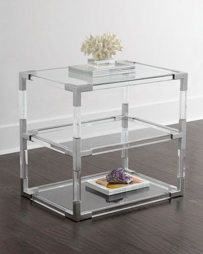 Jacques Lucite & Nickel Two-Tier Table
