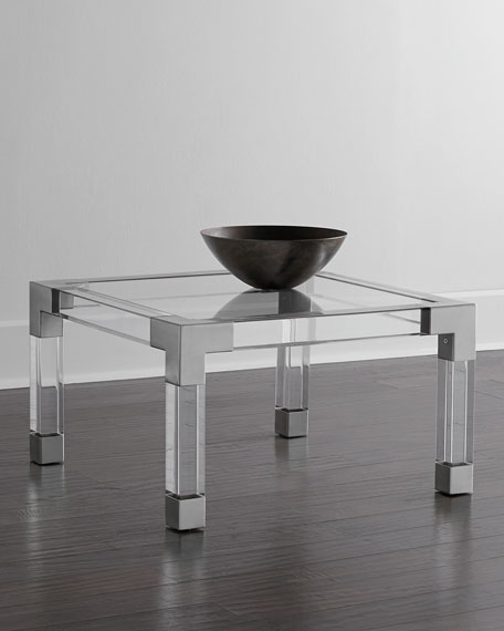 Jonathan Adler Jacques Lucite Nickel Coffee Table