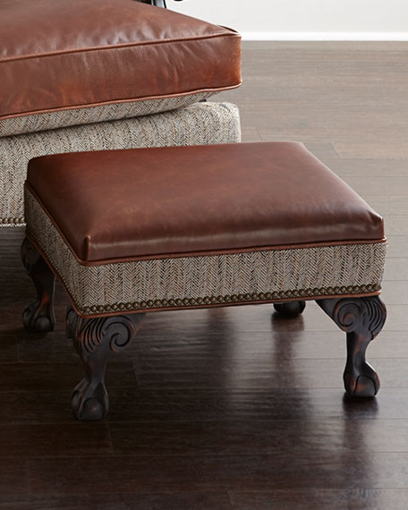 Old Hickory Tannery Beaumont Leather Ottoman
