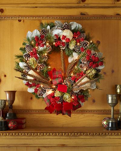 "Pre-Lit Highland Fling 28"" Christmas Wreath"