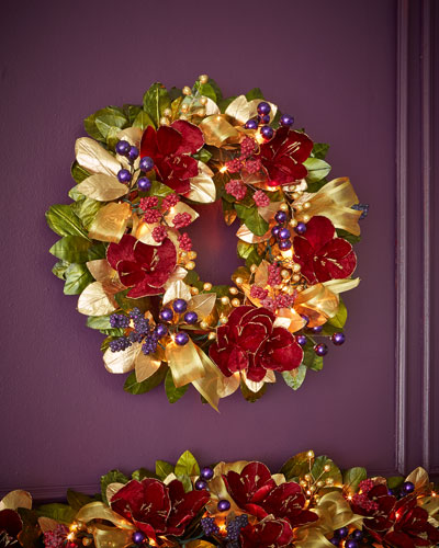 "Pre-Lit Royale 28"" Christmas Wreath"