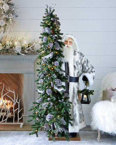 Silver Night Santa with Tree