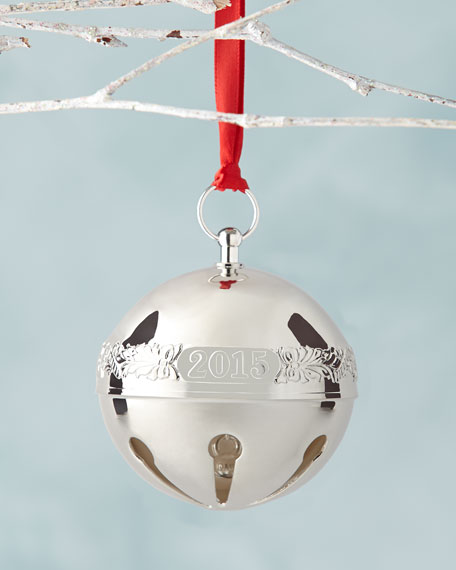 Silver plated sleigh bell christmas ornament