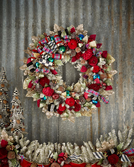 MacKenzie-Childs Large Holiday Frost Christmas Wreath